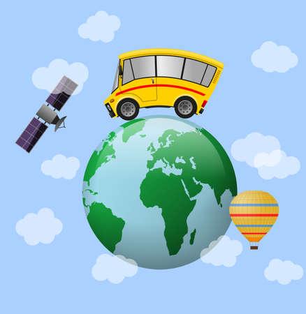 Travel minibus and world globe, illustration