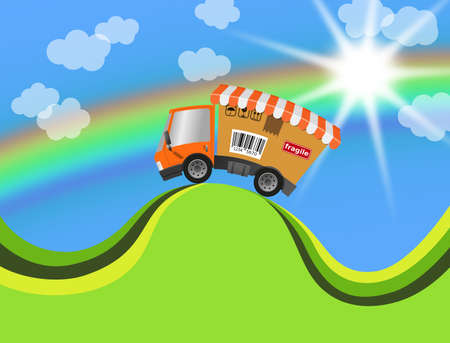Delivery truck with cardboard and landscape, illustration
