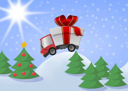 Delivery truck with gift box merrry christmas and winter landscape 版權商用圖片