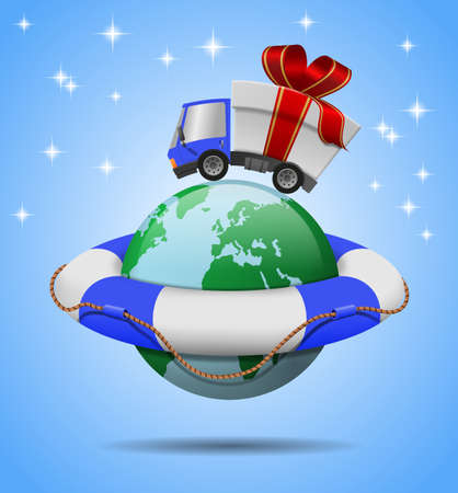 Delivery truck with gift box merrry christmas, globe and Lifebuoy