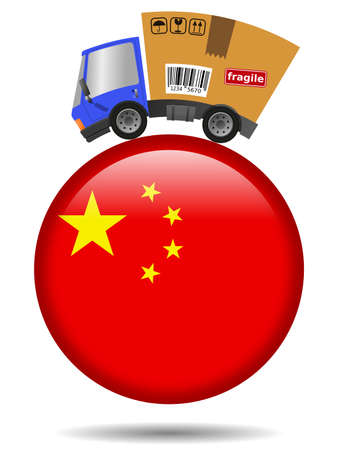 Delivery truck with cardboard box and China badge 版權商用圖片
