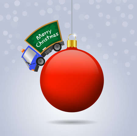 Car and school chalkboard and Christmas ball, text Merry Christmas