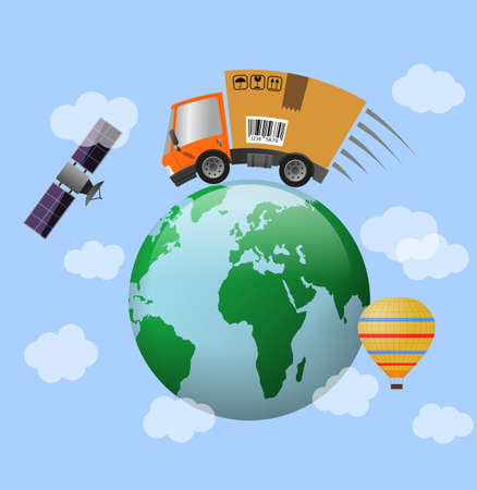 Delivery truck with cardboard box speed motion and globe