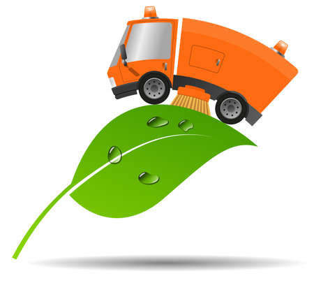 Modern street sweeper truck machine, concept ecology and environment