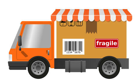 Delivery truck with cardboard box and blind, flat illustration