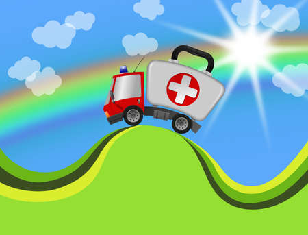 Ambulance car emergency auto as first aid kit in landscape