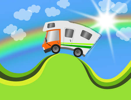 Caravan car confort travel on holiday in landscape