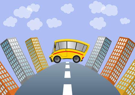 Travel minibus in city, illustration 版權商用圖片