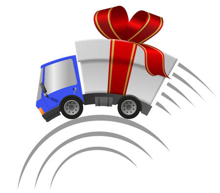Delivery truck with gift box merrry christmas, speed motion