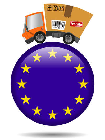Delivery truck with cardboard box and European Union badge