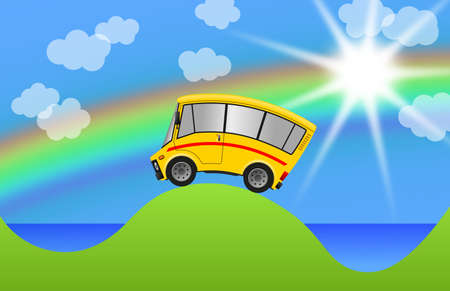 Travel minibus in landscape and sea, illustration