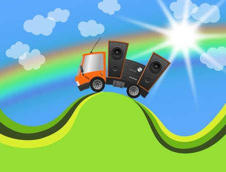 Car and hifi speaker in landscape, illustration 版權商用圖片