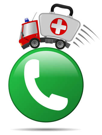 Ambulance car emergency auto as first aid kit and icon telephone handset