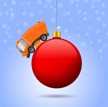 Modern street sweeper truck machine and christmas ball, illustration