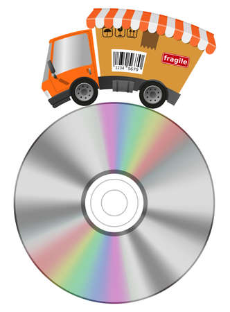 Delivery truck with shop and cd record, concept music business