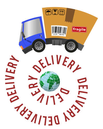 Delivery truck with cardboard box, text on a spiral and globe, e-commerce concept
