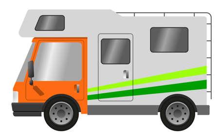 Caravan car, vector flat illustration