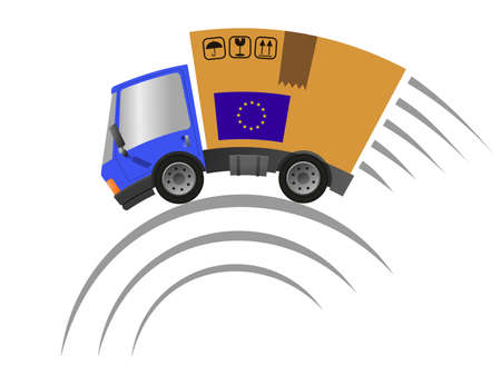 Delivery truck with cardboard box speed motion, vector illustration