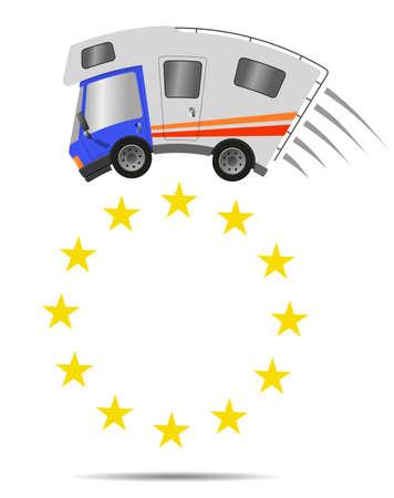 Caravan car confort travel on holiday and symbol European Union, vector illustration