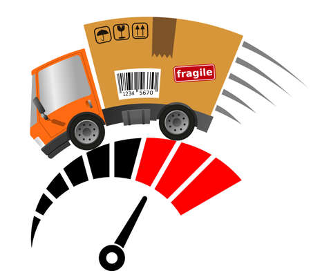 Delivery truck with cardboard box and tachometer, vector illustration