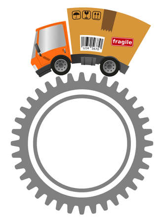 Delivery truck with cardboard box and gear, industry concept vector illustration