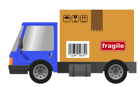 Delivery truck with cardboard box, vector flat illustration 向量圖像