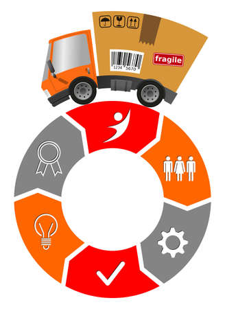 Delivery truck with cardboard box, circle business model, teamwork concept 向量圖像
