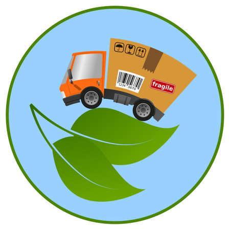 Delivery truck with cardboard box and leaf, concept ecology and environment vector illustration 向量圖像