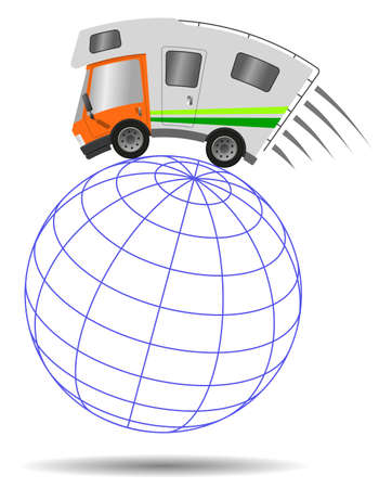 Caravan car confort travel on holiday and globe, speed motion