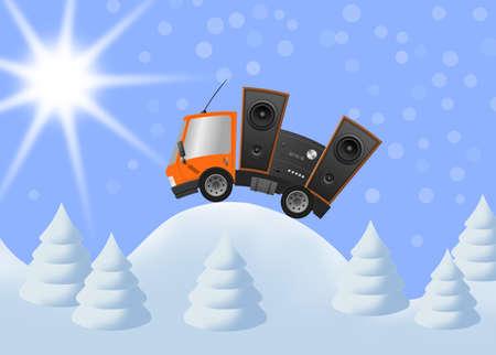 Car and hifi speaker in winter landscape, illustration 版權商用圖片