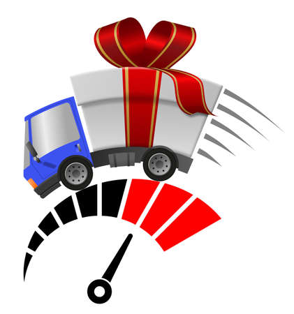 Delivery truck with gift box merrry christmas and tachometer