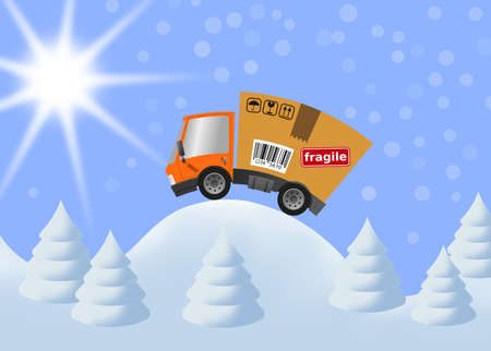 Delivery truck with cardboard box speed motion and and winter landscape