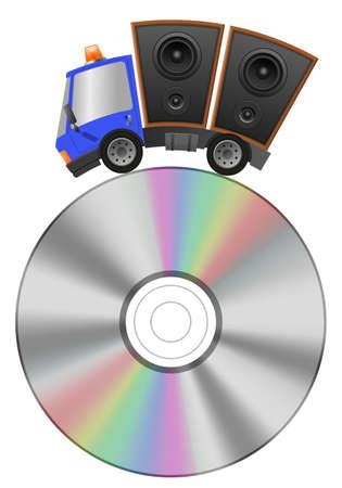 Car and hifi speaker illustration, concept music store