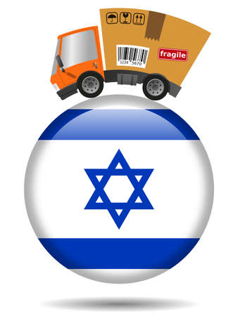 Delivery truck with cardboard box and Israel badge