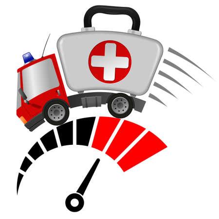 Ambulance car emergency auto as first aid kit and tachometer 版權商用圖片
