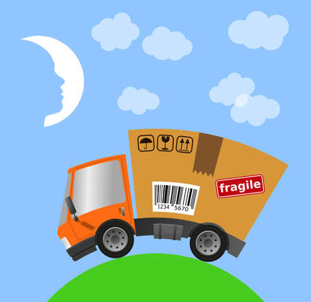 Delivery truck with cardboard box and landscape, vector illustration 版權商用圖片