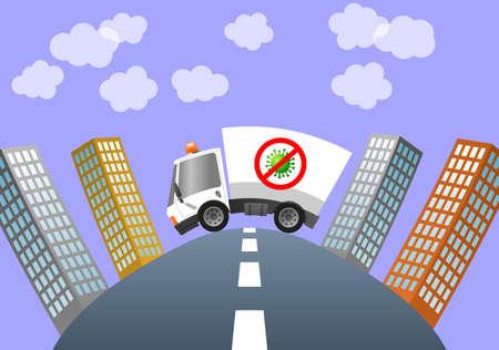 Coronavirus ambulance car in city, illustration