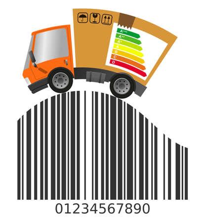 Delivery truck with cardboard box and barcode, vector flat illustration