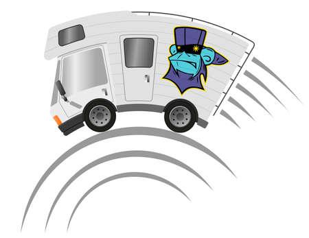 Caravan car confort travel on holiday and graffiti monkey 向量圖像