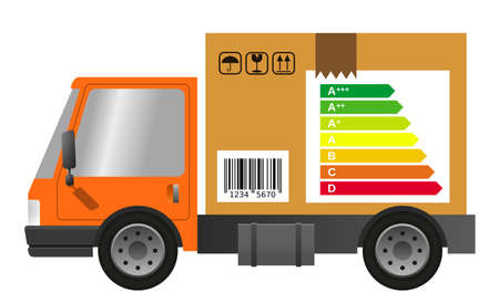 Delivery truck with cardboard box with energy label, vector flat illustration