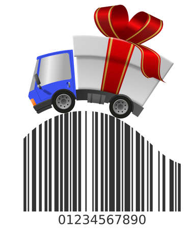 Delivery truck with gift box merrry christmas and Barcode