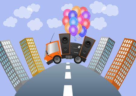 Car and hifi speaker illustration in city, concept celebration