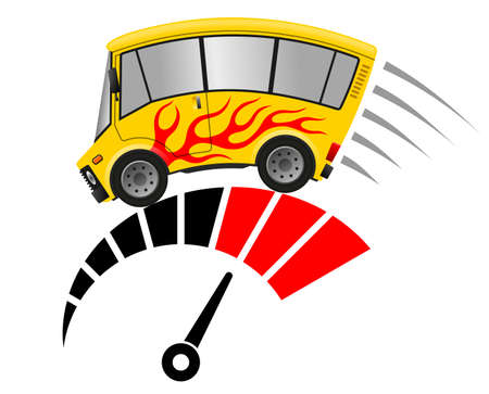 Travel minibus with flames and tachometer, illustration