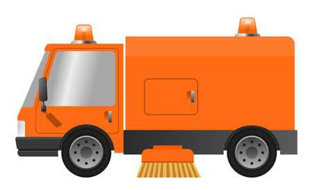 Modern street sweeper truck machine, illustration