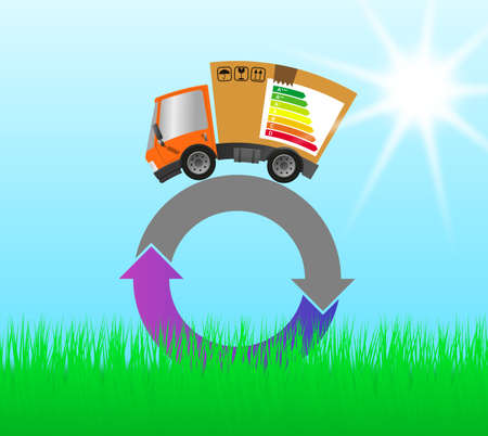 Delivery truck with cardboard box and energy label, concept ecology and environment