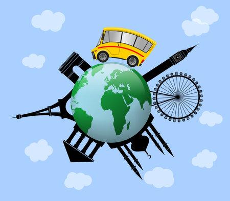Travel to World, Global traveling concept, globe illustration