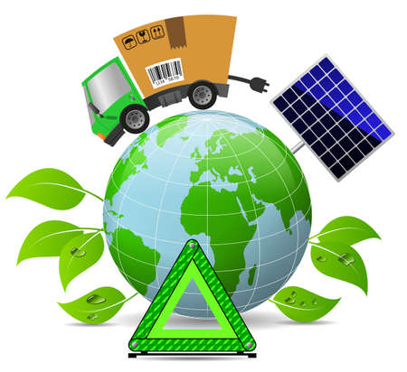 Delivery truck with cardboard box and globe, concept ecology and environment