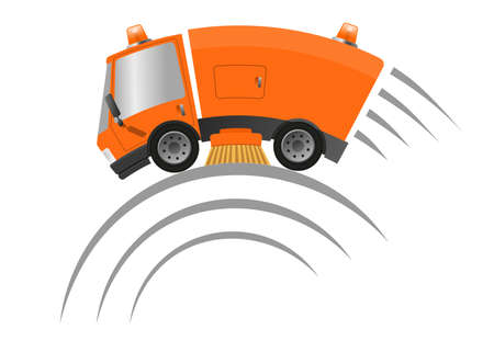 Modern street sweeper truck machine, speed motion illustration