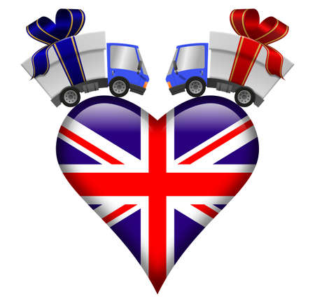 Delivery truck with gift box and Great Britain heart, illustration