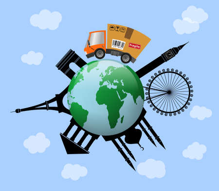 Delivery truck with cardboard box, international trade